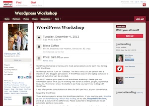 WordPress Workshop Meetup page, blogsitestudio.com