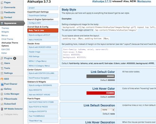 edit a wordpress theme, atuhualpa theme options, blogsitestudio.com