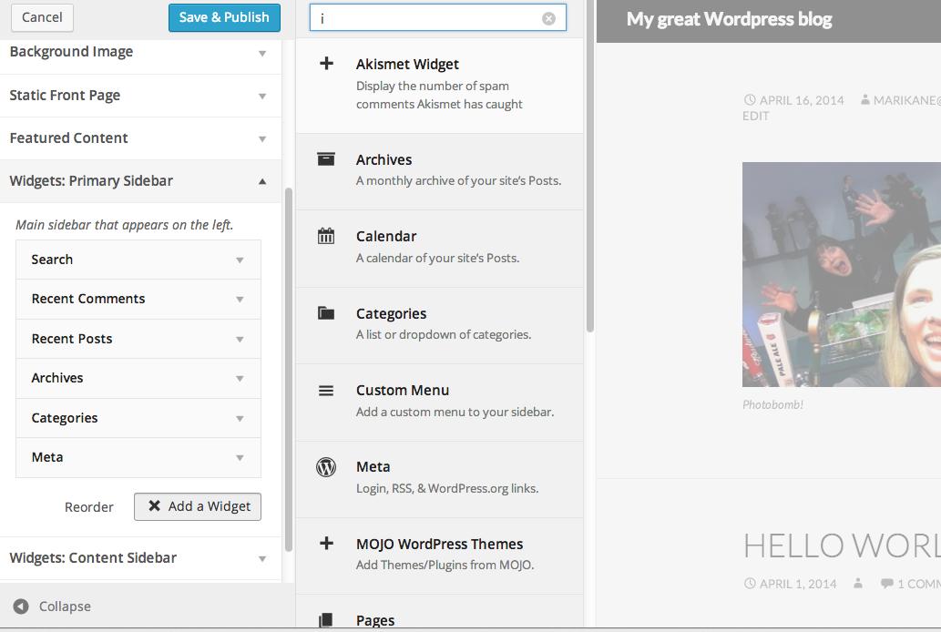 wordpress 3.9 widgets