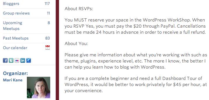 Wordpress Workshop page