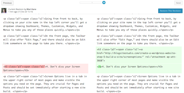 basic wordpress tips revisions, http://blogsitestudio.com/5-basic-wordpress-tips-remember-forever/