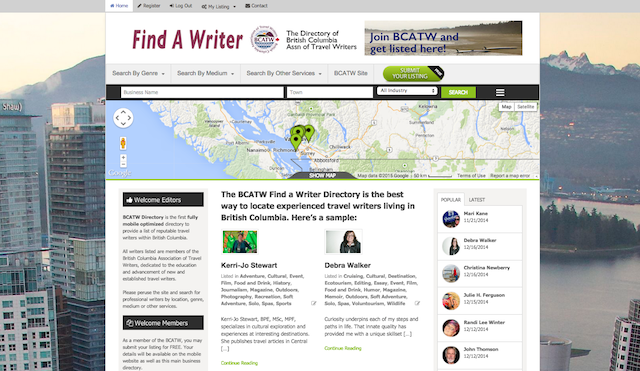 business directory find a writer front page