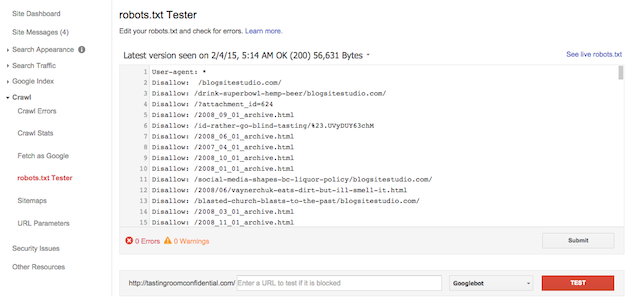 webmaster tools robots tester