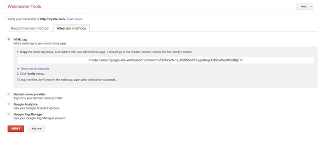 webmaster tools verify