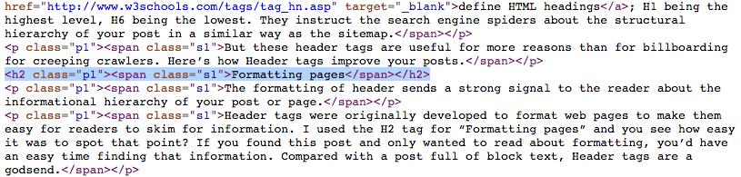header tags h2
