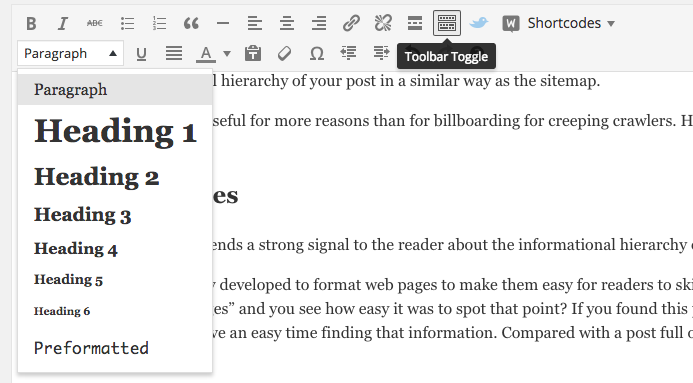 header tags toolbar