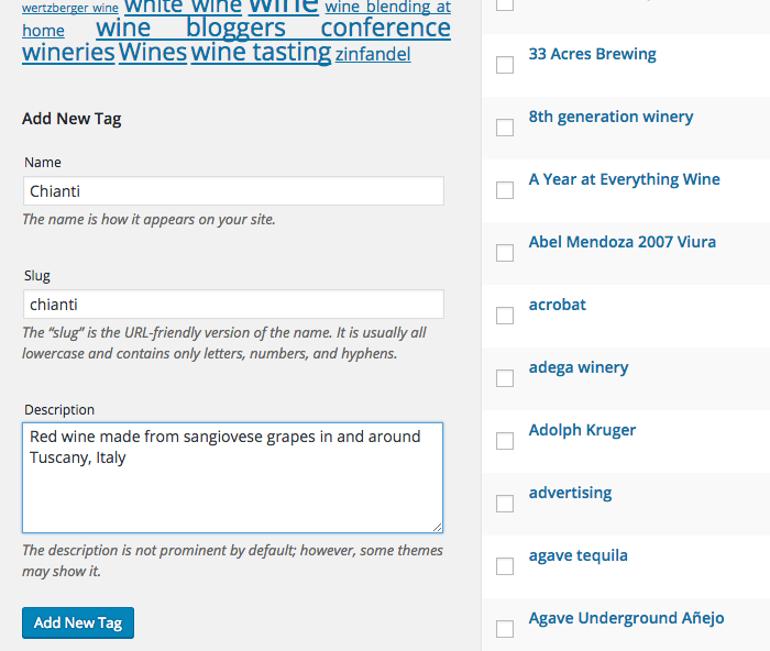 tag page Categories and Tags