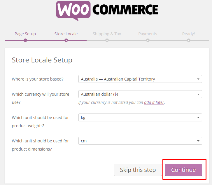 woocommerce store locale