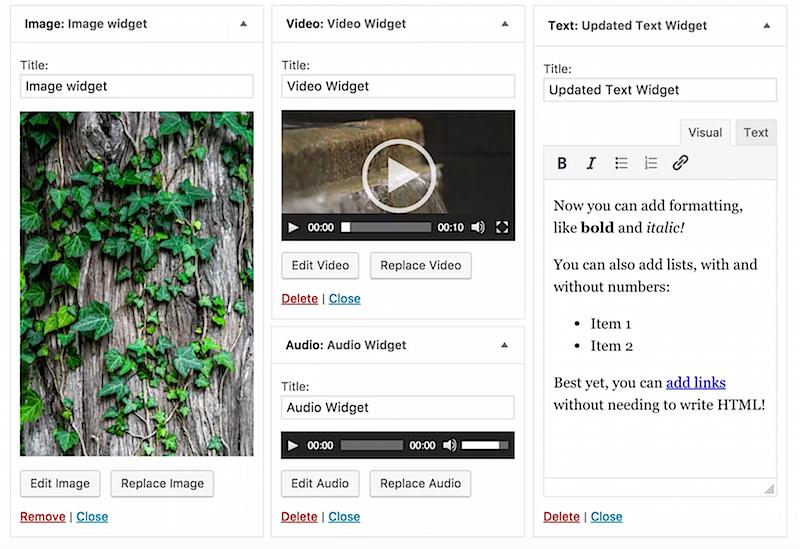 image audio video widgets