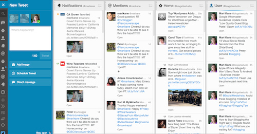 tweetdeck page, blogsitestudio.com