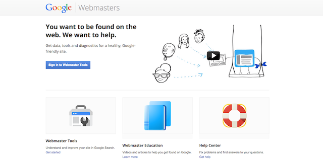 use webmaster tools home page