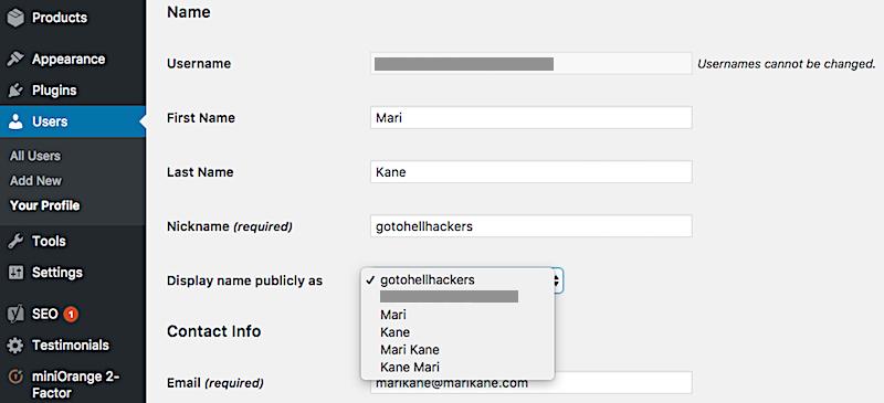Username profile