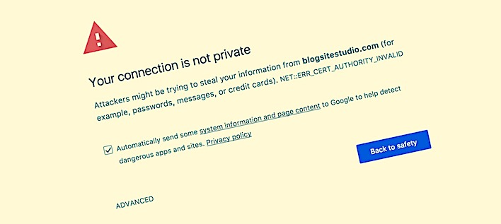 Your ssl connection is not private