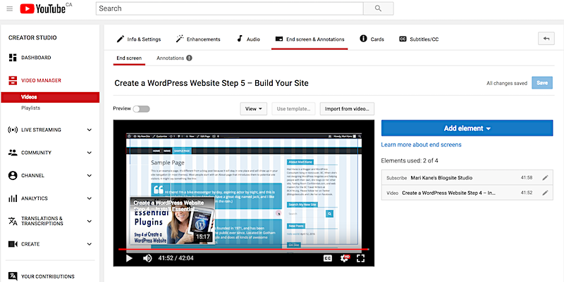 YouTube end screens blogsite studio channel